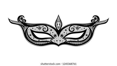 Elegant black mask on the white background. Symbol of carnival. Mardi Gras.