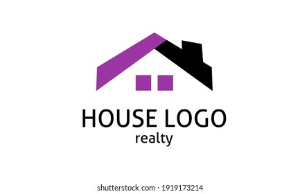 Elegant black and purple house logo for real estate, construction or home rent