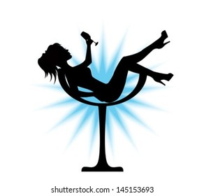elegant black silhouette sits in a glass