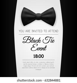 Elegant Black Tie Event Invitation Template. EPS10 Vector