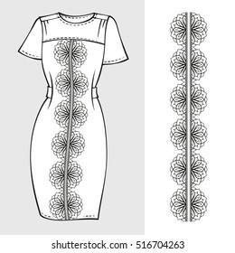 Elegant black and white dress mock-up with pattern brush decoration.