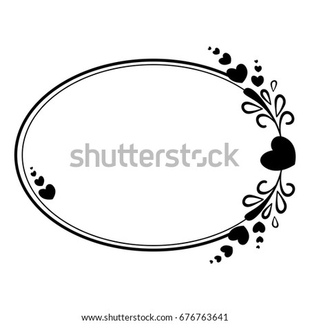 Elegant Black White Oval Frame Silhouette Stock Vector (Royalty Free ...