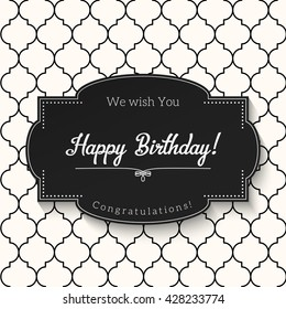 Elegant black and white vintage greeting card with text Happy Birthday, vector illustration, eps 10 with transparency
