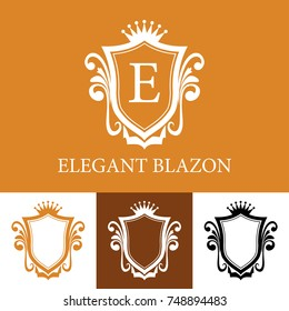 Elegant Blazon in Orange Colors in Line Art Style, Vecor Illustration