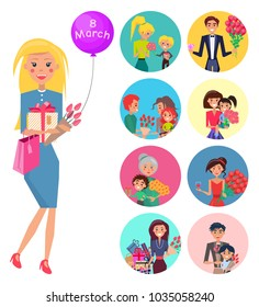 Elegant blond woman in suit with tulips, pink bag, giftbox with bow and baloon. Small portraits of people who exchange presents vector illustrations. 8March holiday women's day