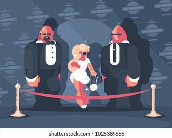 Elegant blonde lady famous star with bodyguards. Vector flat illustration