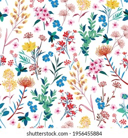 Elegant Blooming Garden floral in small hand draw flower with many kind of botanical plants seamless background Liberty style,Design for fashion, fabric, textile, wallpaper, cover, web , wrapping