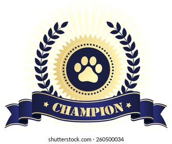Elegant blue and golden seal / stamp with blue ribbon with champion text and paw print on center. perfect for dog show things