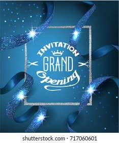Elegant blue grand opening invitation card with blue ribbons with pattern and silver frame. Vector illustration