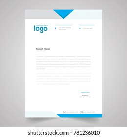 elegant blue and gray waves letterhead design template