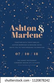 elegant blue invitation card