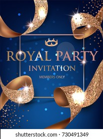 Elegant blue vip invitation card with gold textured curled gold ribbons. Vector illustration