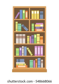 Elegant bookcase, flat style isolated on white background.