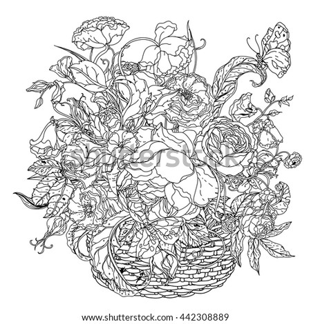 Elegant Bouquet Shaped Contoured Garden Flowers Leaves Black And White For Coloring Book