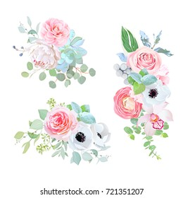 Elegant bouquets of camellia, peony, succulent, rose, anemone, ranunculus, orchid, brunia, eucalyptus, silverberry vector design set. Wedding pink and white flowers. All elements are editable.