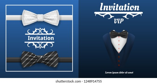 Elegant bowtie banner set. Realistic illustration of elegant bowtie vector banner set for web design