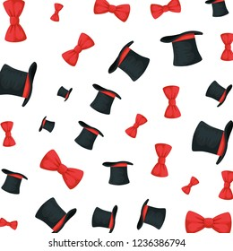 elegant bowties and tophats accessories pattern