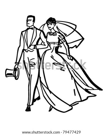 Elegant Bride Groom Retro Clipart Illustration Stock Vector Royalty