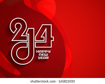 elegant bright red color background for new year 2014. vector illustration