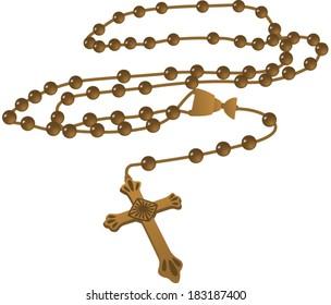 Elegant Brown Catholic Rosary Vector