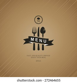 Elegant brown menu for the restaurant.