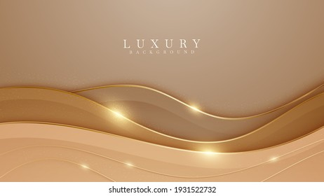 Elegant brown shade background with line golden elements. Realistic luxury paper cut style 3d modern concept. vector illustration for design. - Shutterstock ID 1931522732