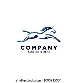 elegant brush jump horse logo