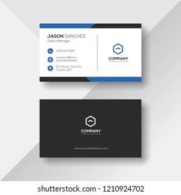 Elegant Business Card with Blue Details