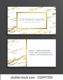 Elegant business card with marble texture and gold detail.