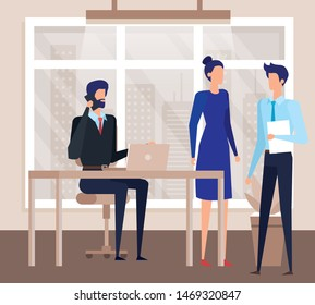 elegant business people workers in the office