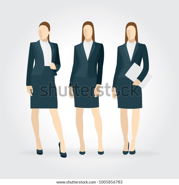 f32b88112 Elegant business women in formal clothes. Vector illustration with isolated  characters set.