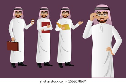 Elegant businessman with different poses. vector
