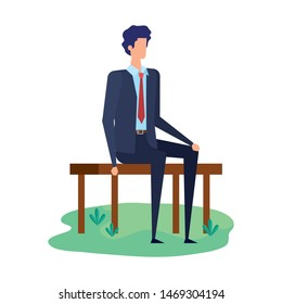 elegant businessman seated in the park chair character