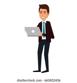elegant businessman using laptop avatar character