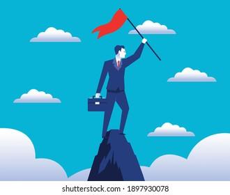 elegant businessman worker with success flag in peak vector illustration design