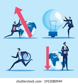 elegant businessmen workers with earth planet and icons vector illustration design