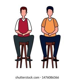 elegant businessmen workers seated in benchs
