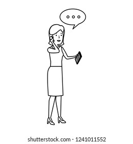 elegant businesswoman talking with smartphone