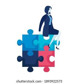elegant businesswoman worker seated in puzzle vector illustration design