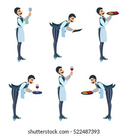 Elegant butler bows, waiter delivers food, plate, wine, menu, wipes a glass. Man with moustache, vest, bow-tie, apron, pants with stripes. Cartoon isolated vector illustration set.