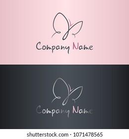 Elegant butterfly logo for feminine business. Fashion, shop, bra, beauty concept. Vector set