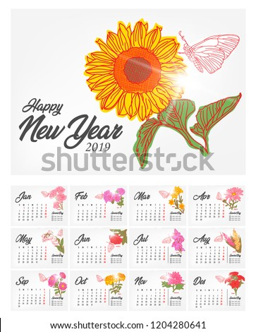 elegant calendar 2019 flowers month birth stock vector royalty free