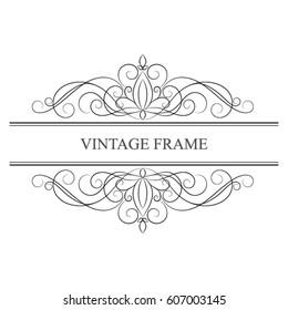 Elegant calligraphic vintage template frame.