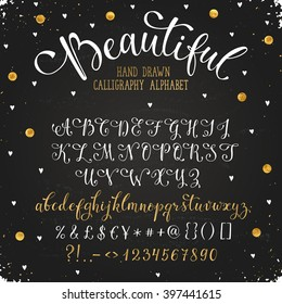 Elegant calligraphy letters with florishes. Handwritten alphabet with golden dots on blackboard. Uppercase, lowercase letters, numbers and symbols. Hand drawn modern and classy script.