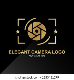 Elegant camera logo design idea. With black and gold color. Very elegant logo. Can use for your logo business