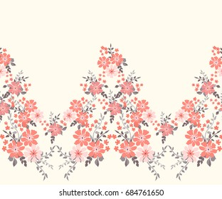Elegant candy trendy border in small-scale flower. Millefleurs. Liberty style. Floral seamless background for textile, fabric, covers, manufacturing, wallpapers, print, gift wrap and scrapbooking.