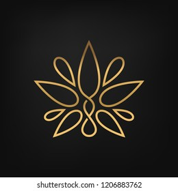 ​Simple elegant cannabis leaf/lotus flower logo. Vector image.