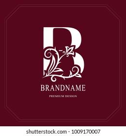 Elegant Capital letter B. Graceful floral style. Calligraphic beautiful logo. Vintage drawn emblem for book design, brand name, business card, Restaurant, Boutique, Hotel, Cafe. Vector illustration