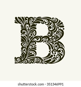 Elegant capital letter B in the style of the Baroque. To use monograms, logos, emblems and initials.