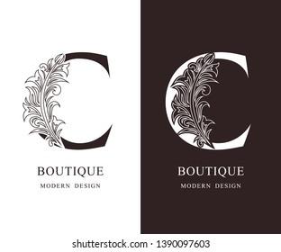 Elegant Capital letter C. Graceful royal style. Calligraphic beautiful logo. Vintage floral drawn emblem for book design, brand name, business card, Restaurant, Boutique, Hotel. Vector illustration